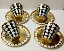 Soviet Russian 916 Silver Enamel Coffee Cup With Plate.very Good Condition.