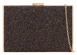 Evening Womens Glitter Hard Case Clutch Bag Plain Sparkly Luxury Party Blog