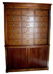 Antique French Art Deco Tambor Oak Notary Cabinet, Attrib. To Maurice Lacour