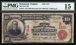 10 1902 First National Bank Of Richmond Ch 1111 Tough Red Seal For Virginia