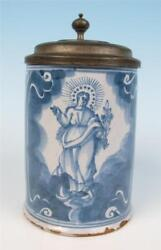 18thc Nuremberg Faience Tankard Madonna And St. Anthony Medal Antique German Stein