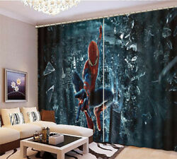 Super Handsome Spiderman3d Curtain Blockout Photo Printing Curtains Drape Fabric