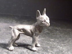 Vintage 80's Miniature PEWTER DOG French Bulldog? Terrier? New Old Stock