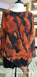 Designer Michael Tyler Long Sleeve Tunic Top withNecklace