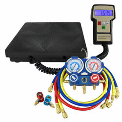 AC Manifold Gauge Set R134a R22 R12 HVAC W Digital Refrigerant Charging Scale