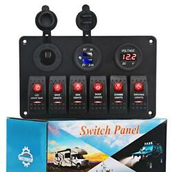 WATERWICH 6 Gang Marine Toggle Rocker Switch Panel waterproof with LED...