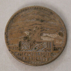 Lebanon Copper Or Brass Was Silver Plated Old Not Genuine 50 Piastres 1936-km 8