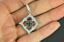3550 14k Solid White Gold 1.00ct Round Diamond Clover Pendant Necklace