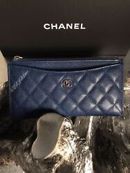 NWT CHANEL 18C Iridescent Black Caviar Long Zip Wallet Phone O-Case 2018 Pouch