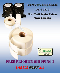 30373 White Rat Tail Style Price Tag Labels Dymo Labelwriter Compatible Adhesive