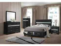 4p Eastern King Size Contemporary Style Rich Black Storage Bedroom Furniture Set