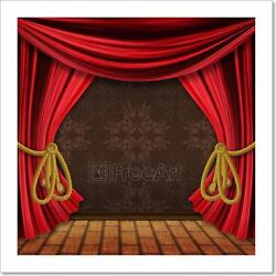 Opened Red Stage Curtains Art Print Home Decor Wall Art Poster - E