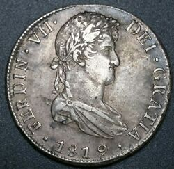 1819 Pj 8 Reale Milled Bust Colonial Potosi Mint World Silver Crown Coin