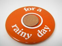 Vintage Collectible Pin Button Uk England British Penny Pence For A Rainy Day