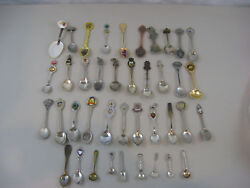 Mixed Lot Of 40 Collectible Souvenir Spoons-us States/cities And Other Countries