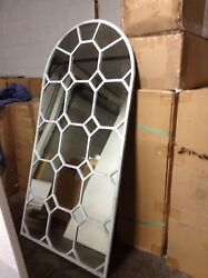 Frontgate Antique Distressed White Octagon Wall Floor Hang Accent Mirror 42x82