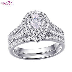 Halo Pear AAA Cz 925 Sterling Silver Wedding Engagement Ring Set For Women 5 12 $26.99