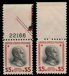 #834a XF+ OG NH $5 RED BROWN & BLACK - PLATE NO. - WITH NORMAL WLM5827