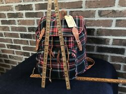 NOS VINTAGE 1990's CZECH COTTON CANVAS & LEATHER RUCKSACK BACKPACK BAG R$548