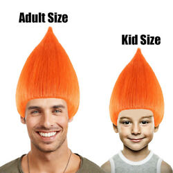 Orange Straight Wig Men's Cosplay Halloween Party Trolls Hairdo Stand Up HM-090
