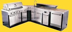 ULTIMATE OUTDOOR KITCHEN BBQ GRILL-SINK-REFRIGERATOR- ICE BOX-TRASH CAN-CORNER