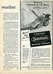 1955 Simplicity Rotary Tractor Tiller Print Ad Tilling At Its Best