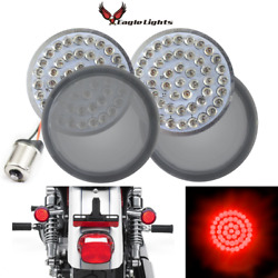 Eagle Lights 2 Harley Led Red Rear Turn Signals 1156 Single Contact Smoked Kit