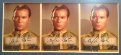 STAR TREK TOS FLEER SKYBOX 1997 SEASON 1 - 3 CARD UNCUT A1 AUTO WILLIAM SHATNER