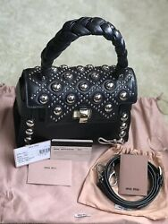NEW Authentic MIU MIU designer bag purse satchel black stud leather strap $2590