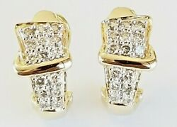 Womenand039s Solid 14k Gold 1.18 Tcw Pave Set Diamond Fashion Earring G-h Si1