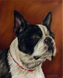 Original Boston Terrier Dog Portrait Oil Painting on Stretch Canvas