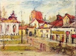 Unknown Unidentified European Figures And Carriage In Village / Modern Polish Oil