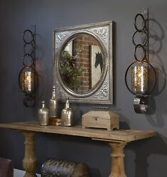 Two Huge 39 Restoration Metal Mercury Glass Wall Sconce Glass Candle Holder