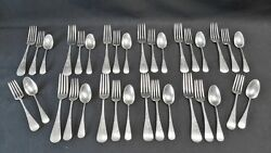 Gorham Silver Sterling Antique Engraved Number 8 Forks And Spoons - 34 Pieces Mono
