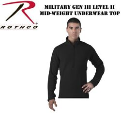 Black Military Ecwcs Gen Iii Level 2 Mid-weight Long John Top Rothco 69030