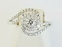 14k Solid White Gold All Natural 1.13 Tcw G Vs2 Diamond Cluster Ring Size 8.25