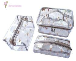 3 Pack Clear Cosmetic Bag Waterproof Travel Pouches Toiletry Bags Case Set...