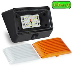 Rv, Marine Led Porch Light Clear And Amber Lens W/ On/off Switch 280 Lum Black