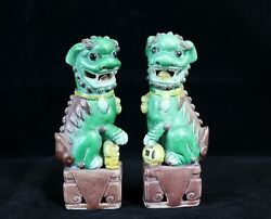 Pair Of Antique Chinese Porcelain Famille Verte Foo Dog/ Lion 6-1/8 Figurines