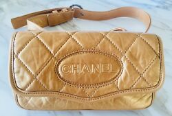 ChanelQuilted 'cc' Strap Gold Leather Cross Body Bag