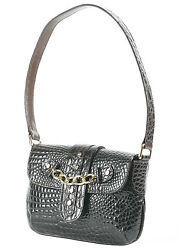 RAPHAEL Crocodile Alligator Sweet Pea BROWN Handbag Exotic Leather Under Arm Bag