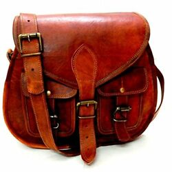 Firu-Handmade Women Shoulder Bags Vintage Style Genuine Brown Leather Crossbody