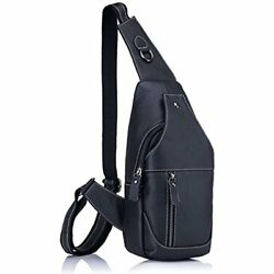 Men's Genuine Sports Duffels Leather Sling Bags Chest Shoulder Crossbody Satchel