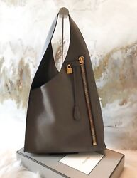 Tom Ford Dark Gray Alix Zip Large Leather Hobo Bag