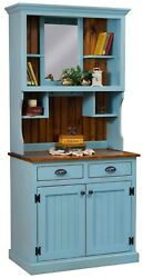 Amish Country Primitive Hutch Distressed Painted Solid Wood 2-piece 36w X 78h