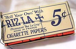 New Vintage Rizla+ Cigarette Tobacco Rolling Papers W/strings Box With 24