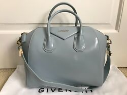 Authentic Givenchy Antigona Light Blue Leather Medium Satchel Bag Handbag $2450