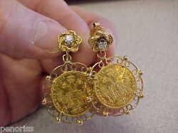 Beautiful Diamond And Gold Coin Earrings 14k Gold Must See Make Offer