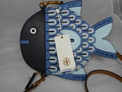 NWT Authentic Tory Burch Fish Messenger Crossbody Bag Blue Retails $425