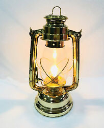 Vintage Electric Stable Hurricane Brass Lantern Lamp Wall Hanging Home Decor